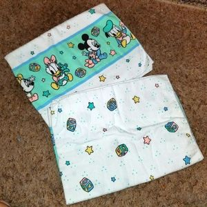 Vintage DISNEY BABIES Receiving Blankets  Lot of 2 Baby Mickey Donald Daisy Etc.
